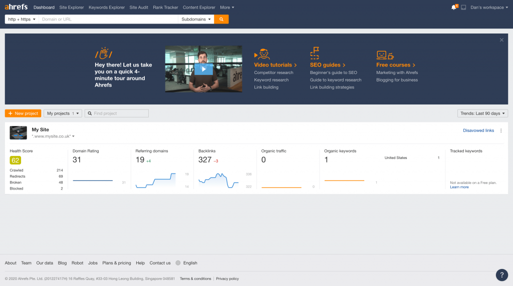 Ahrefs Project Dashboard