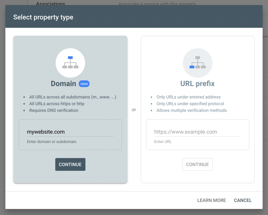Setting up a new website in Search Console